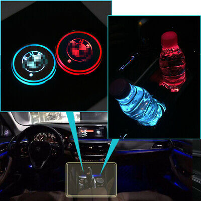2pcs RGB LED For Bmw Car Cup Holder Lights Interior Illuminated Badge Logo Lamps • 11.89£