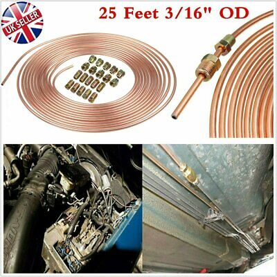 Copper Brake Pipe Hose 25ft Line Roll Tube Piping Joint Union 3/16  With 20 Nuts • 13.89£