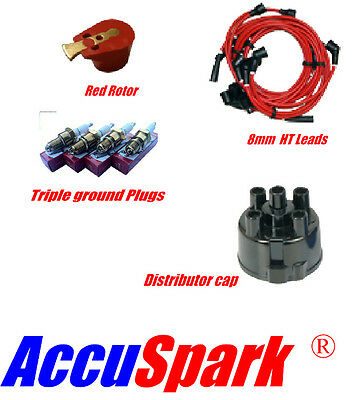 Reliant Robin 8mm Leads,AC12C Plugs, Red Rotor & Distributor Cap For Lucas 45D  • 24.95£