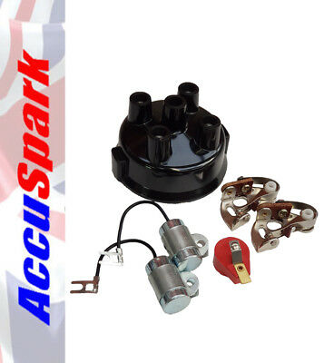 Points, Condenser, Red Rotor Arm & Distributor Cap For 4 Cyl Delco Distributors • 10.95£