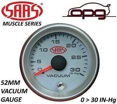 SAAS Vacuum 52mm 2in 0 > 30 In HG Analog Gauge White Face Silver Rim 4 Colour • 28.18£