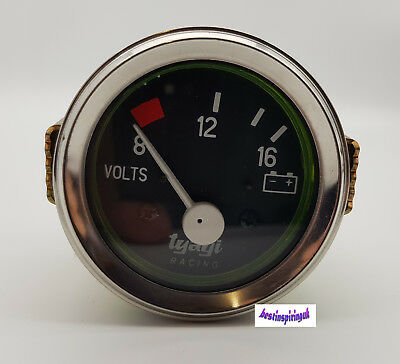 8-12-16 Bar Car Auto Chrome Volt Voltmeter Voltage Meter Guage Clock 52mm 2  Dia • 19.99£