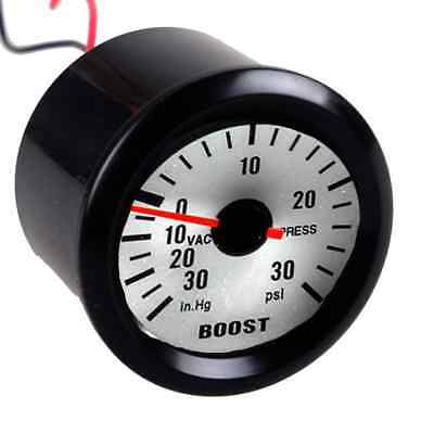 52mm Universal Vacuum Boost Gauge 30 PSI Black Shell White Dial Blue LED • 15.99£