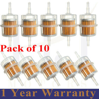 10 X Universal Petrol Inline Fuel Filter Large Car Part Fit 6mm 8mm Pipes • 9.39£