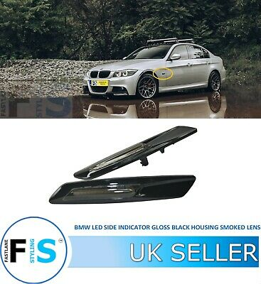 Bmw 1 3 5 6 X1 X3 Series Led Side Indicator Gloss Black Housing Smoked Lens Oem • 16.99£