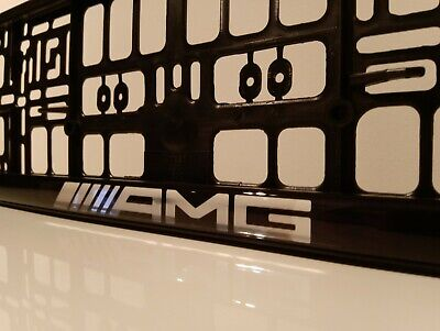 2 X CAR Number Plate Surround  Frames Best Fits For Mercedes AMG Domed Silver • 16£