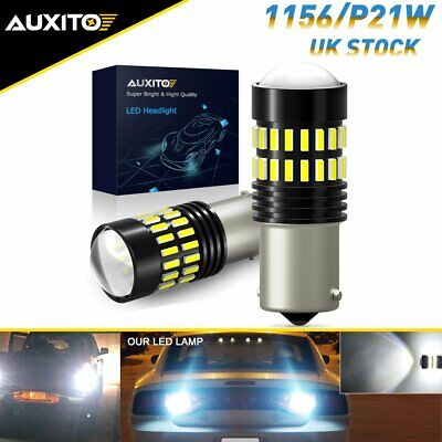 2X AUXITO LED 1156 P21W White Canbus Reverse Light Bulbs Side DRL Backup 382 • 11.99£