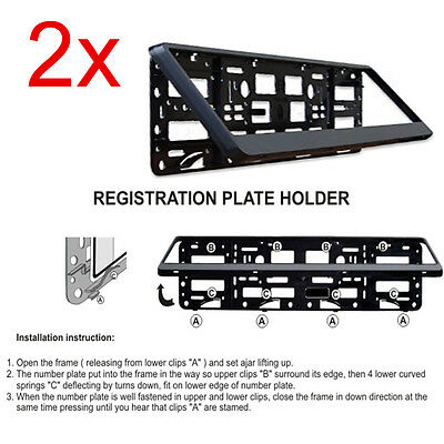 2x Black Number Plate Surround Holders Frame For Any Car Van Bus Tuning Sport • 8.98£