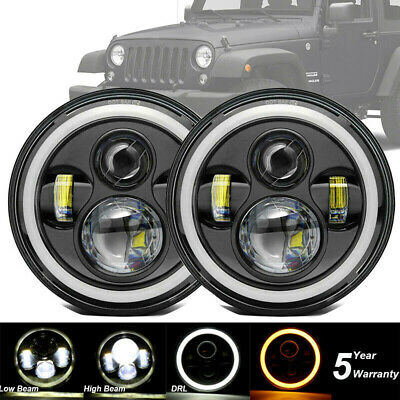 Pair 7  Led Headlights Halo E Marked Rhd For Land Rover Defender 90 110 Tdi Td5 • 56.99£