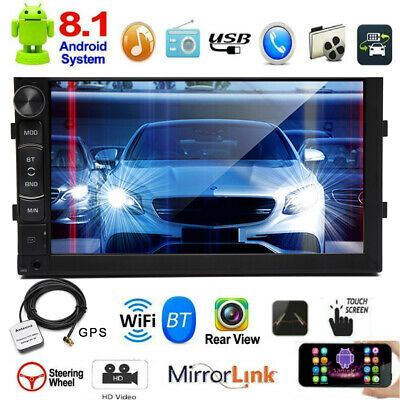 7 Inch Android 8.1 2 Din Head Unit Car Stereo GPS Sat Nav Radio Touch Screen USB • 88.03£