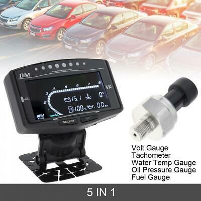 5 In 1 LCD Car Water Temp/Oil Pressure/Tachometer/Volt Voltmeter/ Fuel Gauge NEW • 35.09£