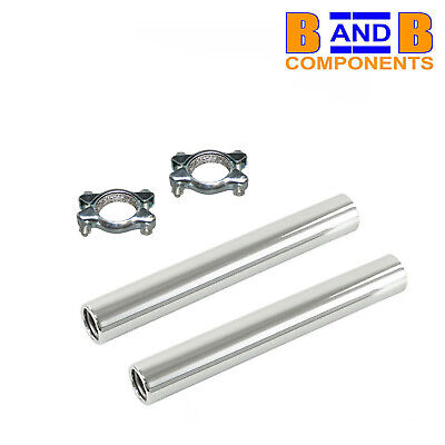 VW T1 BEETLE BUG EXHAUST MUFFLER CHROME TAILPIPE TAIL PIPES & CLAMPS X 2  A1384 • 18.50£