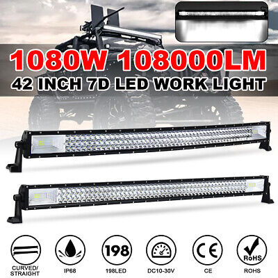 42'' Inch 1080W Curved/Straight 7D LED Work Light Bar Combo Car Truck Offroad   • 71.99£