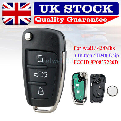 For Audi A3 S3 TT A4 S4 3 Button Flip Remote Key Fob ID48 Chip 434MHz 8P0837220D • 20.75£