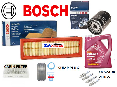 BOSCH SERVICE KIT FOR FIAT 500 1.2i OIL AIR POLLEN FILTERS PLUGS SUMP PLUG & OIL • 48.25£