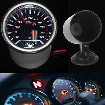 Pointer 2  52mm Car Smoke Len LED Volt Voltage Gauge Meter + Pod Holder • 12.79£