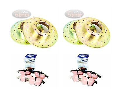 LR DISCOVERY 2 TD5 DRILLED & GROOVED BRAKE DISCS & EBC PADS FRONT & REAR-pbdk09 • 179.50£