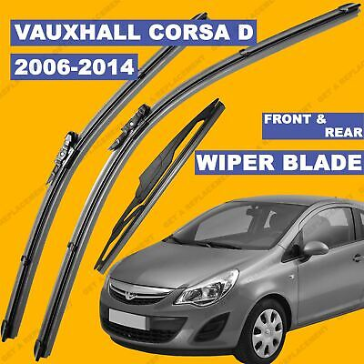 Front And Rear Wiper Blade Set For Vauxhall Corsa D 06-15 56 57 Till 65 Reg • 12.39£