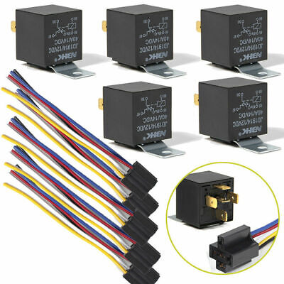 5 X 12V DC Automotive Changeover Relay 40A 5-Pin With Socket Holders Auto UK • 9.99£
