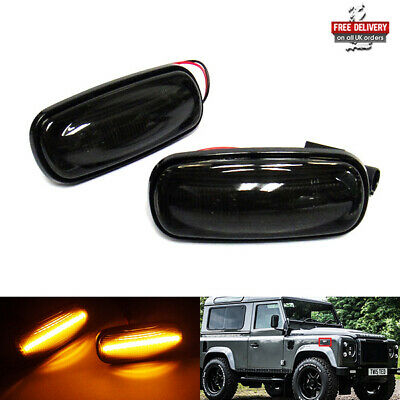 2x Black Smoked Side Indicator LED Repeater Light For Land Rover Defender 90 110 • 17.95£