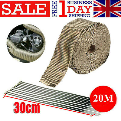 20M Titanium Exhaust Heat Wrap Manifold Downpipe High Temp Bandage Tape Roll • 14.99£