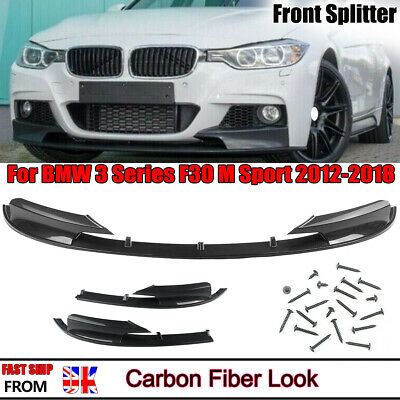 Carbon Look Front Spoiler Splitter M Style For BMW F30 3-Series 12-18 M-Sport • 65.88£