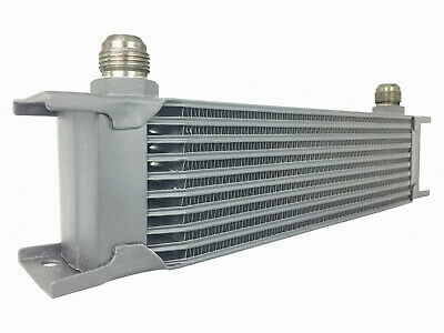 Oil Cooler - Silver 10 Row Universal Front Mount Oil Cooler - AN8 3/4 16 UNF • 38.99£