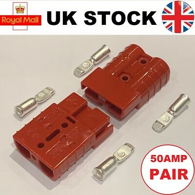 Pair Of Anderson Type SB50A 50 Amp Connectors RED Plug Terminal Battery 10-12AWG • 6.15£