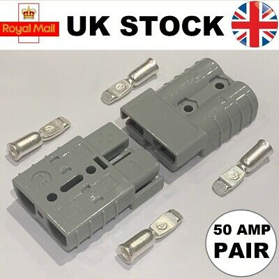Pair Of Anderson Type SB50A 50 Amp Connectors Grey Plug Terminal Battery 6AWG UK • 6.15£