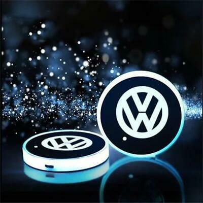 For VW Colorful LED Car Cup Holder Pads Mats USB Charge Atmosphere Lights New • 10.99£