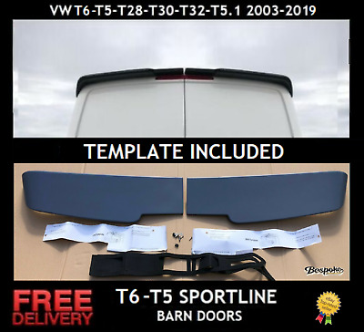 Sportline Style Twin Barn Door Spoiler For Vw T5-t6 Transporter Caravelle 03-18 • 58.95£