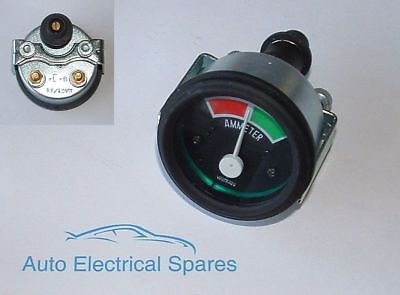 CLASSIC CAR 2  52mm 60 / 60 Ammeter 12v ILLUMINATED GREEN • 11.99£