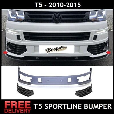 Vw T5 T5.1 Front Bumper Spoiler Sportline Lip For Transporter Abs Uk 2010-2015 • 169.95£