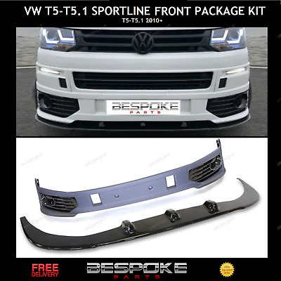 Sportline Style Lower Front Splitter Lip + Bumper For Vw T5 T5.1 Transporter Abs • 254.99£