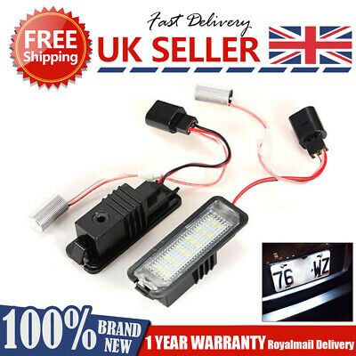 2 LED License Number Plate Light VW Golf MK4 MK5 MK6 Passat Polo CC Eos Scirocco • 13.95£