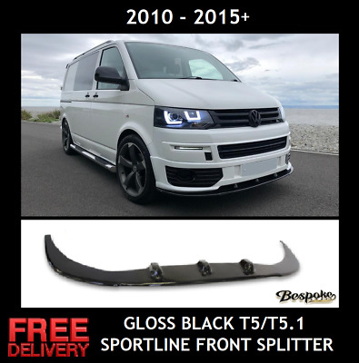 Vw Lower Black Gloss Front Splitter Lip Spoiler Transporter T5 T5.1 Sportline • 99.99£