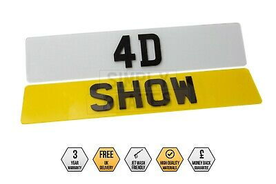 PAIR Of 4D Laser Cut SHOW PLATES UK Number Plates Gloss Black Novelty Car • 25.99£