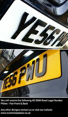 4D Number Plates, Gloss Black, Pair Of Road Legal Plates Fast Dispatch *Premium* • 27.99£
