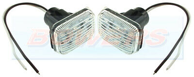 2x LAND ROVER DEFENDER OR CLASSIC MINI CLEAR LED SIDE REPEATER INDICATOR LIGHTS • 18.98£