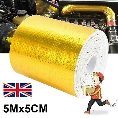 Heat Shield Wrap Tape Auto Exhaust Pipe Adhesive Reflective Aluminum Foil Gold • 3.99£
