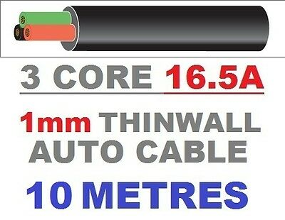 3 CORE AUTO CABLE 1.0mm 16.5 AMP CAR WIRE 10 METRES MULTICORE THINWALL 1MM  10M • 12.68£