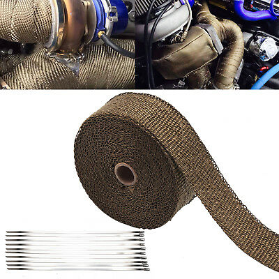 Titanium Heat WRAP 10M + 10 Ties 30CM Exhaust Insulating Downpipe Manifold RAP • 8.19£