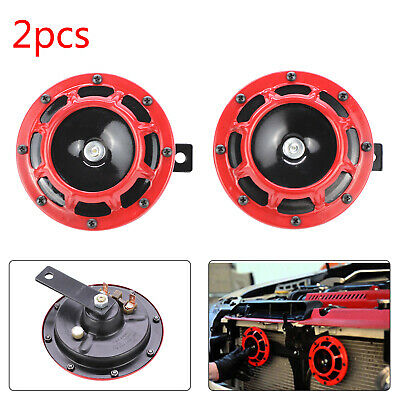 2X Red 12V 139dB Dual Car Grille Horn Compact Super Tone Loud Blast 118 139Db UK • 6.99£