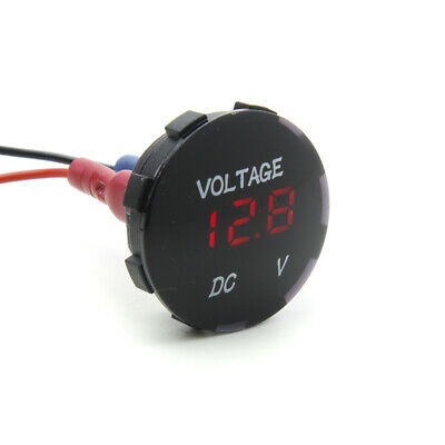 Red LED Voltmeter Round Battery Display Solar Monitor Camper Van Motorbike 12v • 9.49£