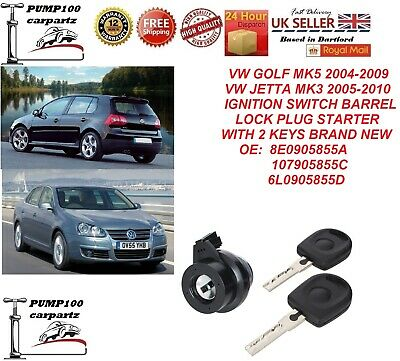 Vw Golf Mk5 Jetta Mk3 Ignition Switch Barrel Lock Cylinder Plug Starter & Keys • 22.95£