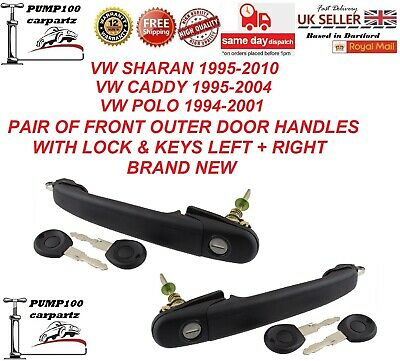 Vw Sharan Caddy Polo Pair Of Outer Exterior Front Door  Handle  Lock & Keys  Set • 23.95£