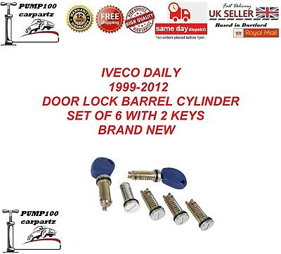 Iveco Daily 1999-2012  Door Lock Barrel Cylinder With 2 Keys Set Of 6 Front Rear • 20.34£