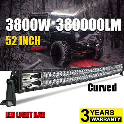 Curved 52inch 3800W LED Light Bar Flood Spot Roof Driving Truck RZR SUV 4WD 50'' • 92.06£