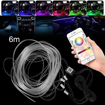6m RGB LED Car Atmosphere Lamp Interior Ambient Light Strip Phone APP Control • 18.99£