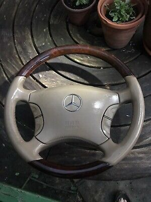 W220 Beige Wood Steering Wheel W215 Stitched Leather Centre Burl Wooden Oem S Cl • 169.99£